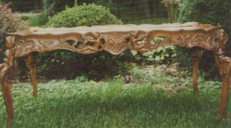 Carved coffee table.