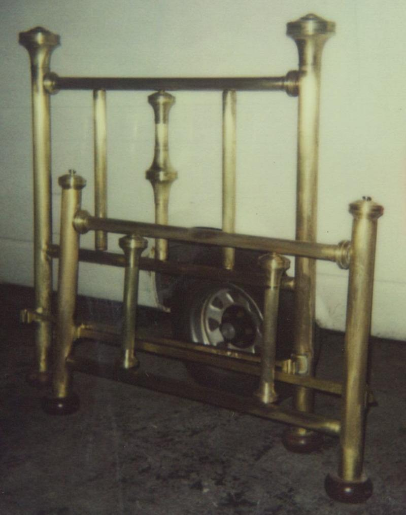 Brass bed frame.